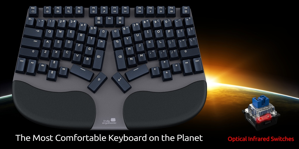 Truly Ergonomic Cleave Keyboard - The Most Comfortable keyboard on the Planet with Reliable Infrared Switches