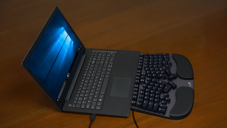 Truly Ergonomic Cleave Keyboard - Cable Management allow positioning very close to Laptop